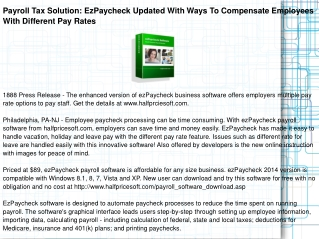 Payroll Tax Solution: EzPaycheck Updated With Ways
