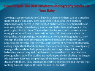 How To Spot The Best Newborn Photography Studio For Your Bab