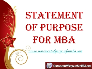 Statement Of Purpose For MBA