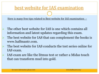 Select the best website for IAS examination