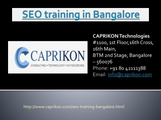 SEO training centers in Bangalore
