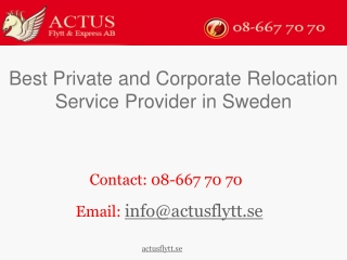 Best Private and Corporate Relocation Service Provider in Sw