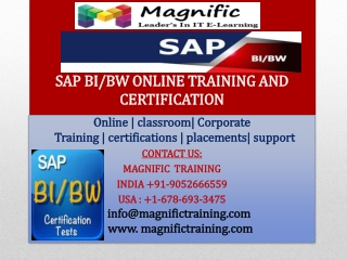 SAP BI-BW ONLINE TRAINING AND CERTIFICATION