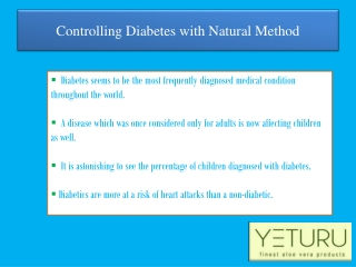 Cure Diabetes Naturally Using Yeturu's Aloe Vera Juice