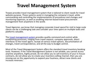 Travel Management System, travel management systems