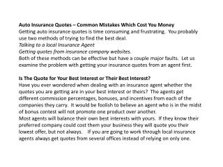 auto insurance quotes – common mistakes which cost