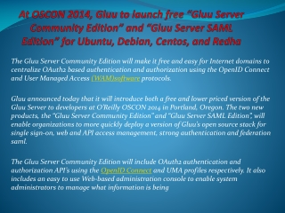 "At OSCON 2014, Gluu to launch free ""Gluu Server Community E"