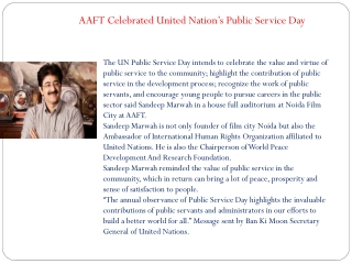 AAFT Celebrated United Nation's Public Service Day