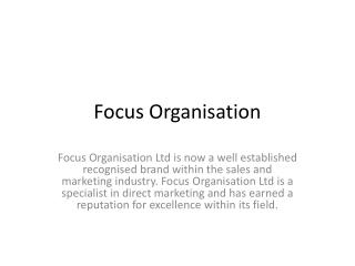 Focus Organisation - Marketing