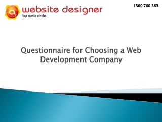 Questionnaire for Choosing a Web Development Company