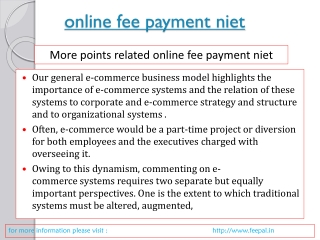 The major steps online fee payment  niet