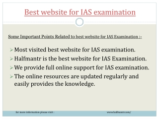 We provide  support to best website for IAS examination