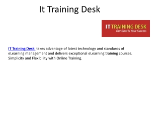 IT training desk | Online courses | elearning