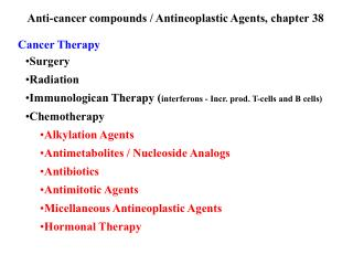anti-cancer compounds