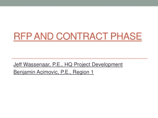 RFP and Contract Phase