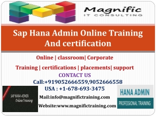 Sap Hana Admin Online Training And certification
