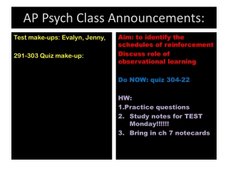 AP Psych Class  Announcements: