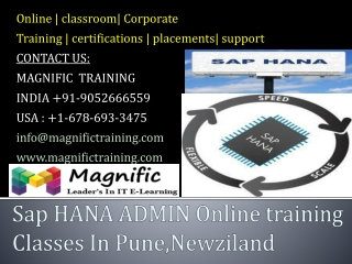 Sap HANA ADMIN Online training Classes In Pune,Newziland