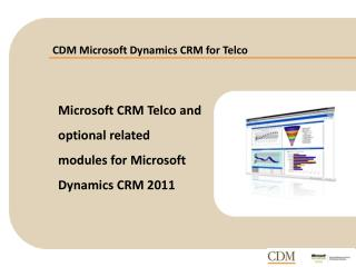 CDM Microsoft Dynamics CRM for Telco
