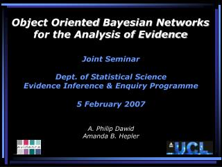 object oriented bayesian networks for the analysis of evidence