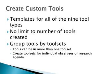 Create Custom Tools