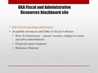 UAA Fiscal and Administrative Resources blackboard site