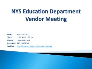 NYS Education Department Vendor Meeting