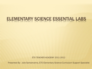 Elementary science essential labs