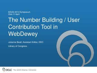 The Number Building / User Contribution Tool in  WebDewey