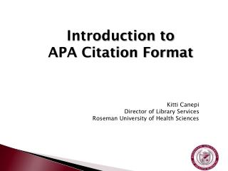 Introduction to  APA Citation Format
