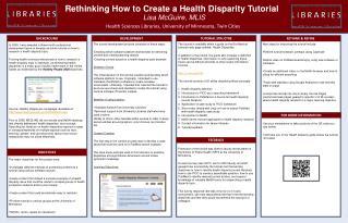 Rethinking How to Create a Health Disparity Tutorial