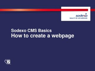 Sodexo  CMS Basics How to create a webpage