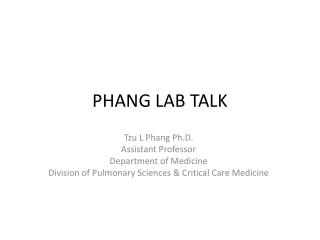 PHANG LAB TALK