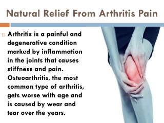Natural Relief From Arthritis Pain