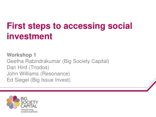 Big Society Capital works through roles as: