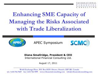 Enhancing SME Capacity of Managing the Risks Associated with Trade Liberalization