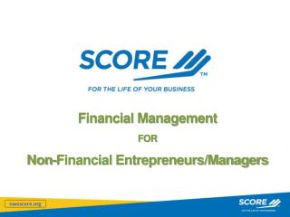 Financial Management FOR Non-Financial Entrepreneurs/Managers