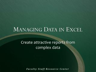 Managing Data in Excel