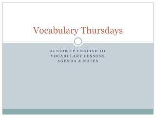 Vocabulary Thursdays