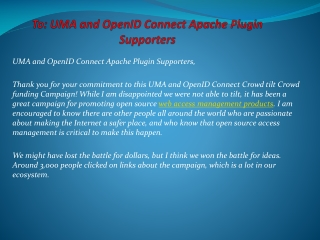 To: UMA and OpenID Connect Apache Plugin Supporters