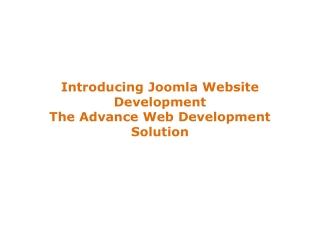 Joomla website development the advance web development solut