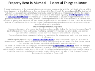 Property Rent in Mumbai � Essential Things to Know
