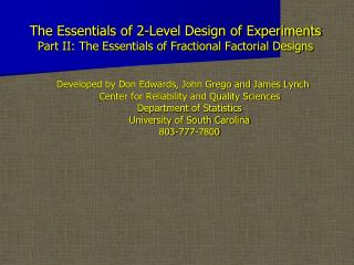 the essentials of 2-level design of experiments part ii: the essentials of fractional factorial designs