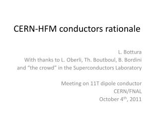 CERN- HFM conductors rationale