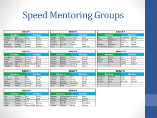 Speed Mentoring Groups
