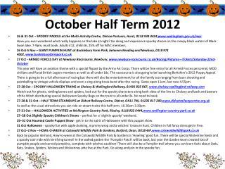 October Half Term 2012