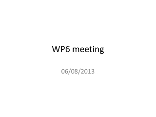 WP6 meeting