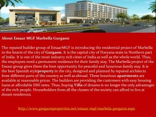 Emaar MGF Marbella Gurgaon