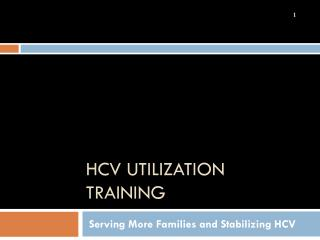 HCV Utilization training