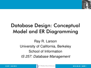 Database Design: Conceptual Model and ER Diagramming
